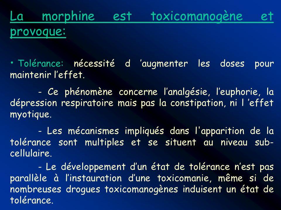 La morphine est toxicomanogène et provoque: Tolérance: nécessité d augmenter les doses pour maintenir leffet. - Ce phénomène concerne lanalgésie, leup
