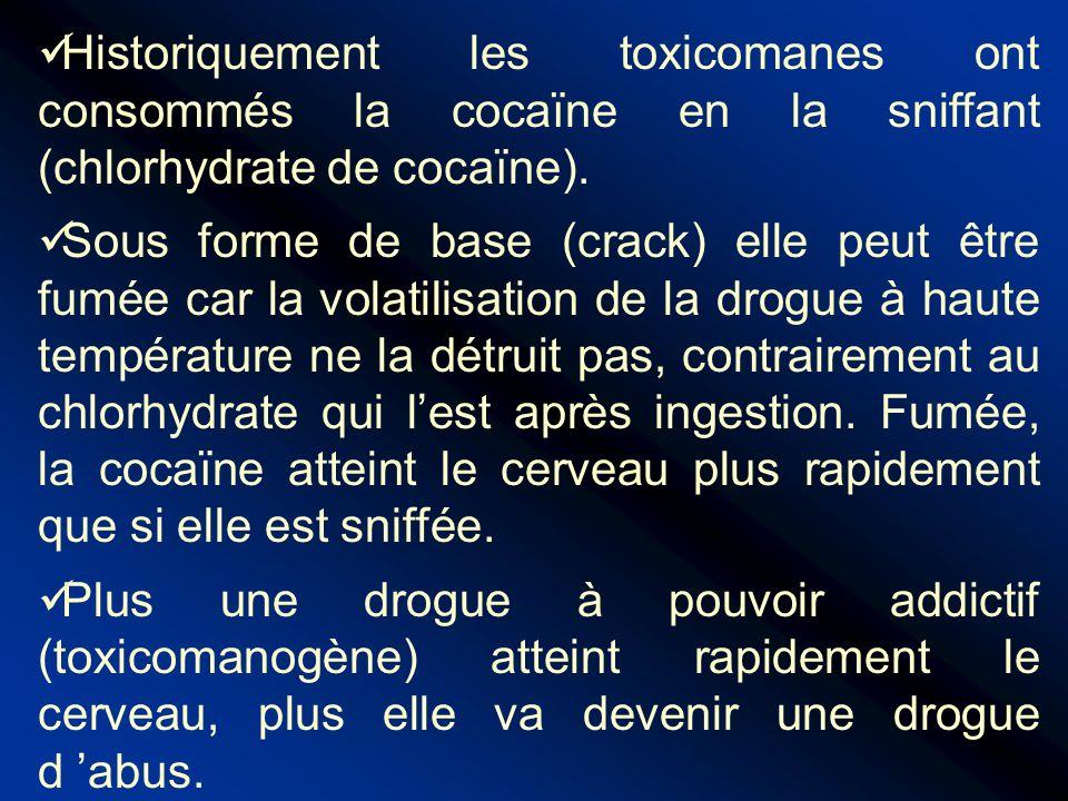 Historiquement les toxicomanes ont consommés la cocaïne en la sniffant (chlorhydrate de cocaïne). Sous forme de base (crack) elle peut être fumée car