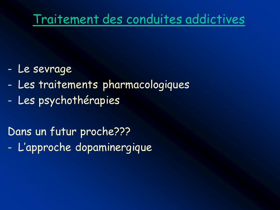 Traitement des conduites addictives -Le sevrage -Les traitements pharmacologiques -Les psychothérapies Dans un futur proche??? -Lapproche dopaminergiq