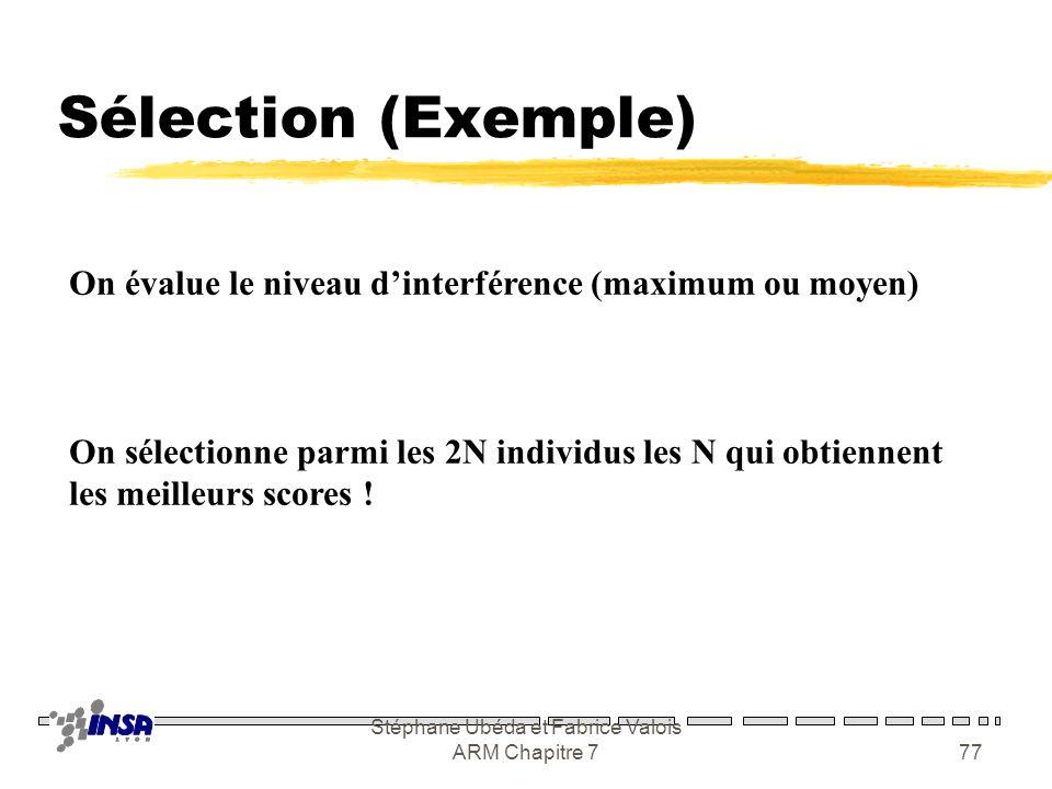Stéphane Ubéda et Fabrice Valois ARM Chapitre 776 Mutation (Exemple) Choisir un gène au hasard Remplacer par Random(7)