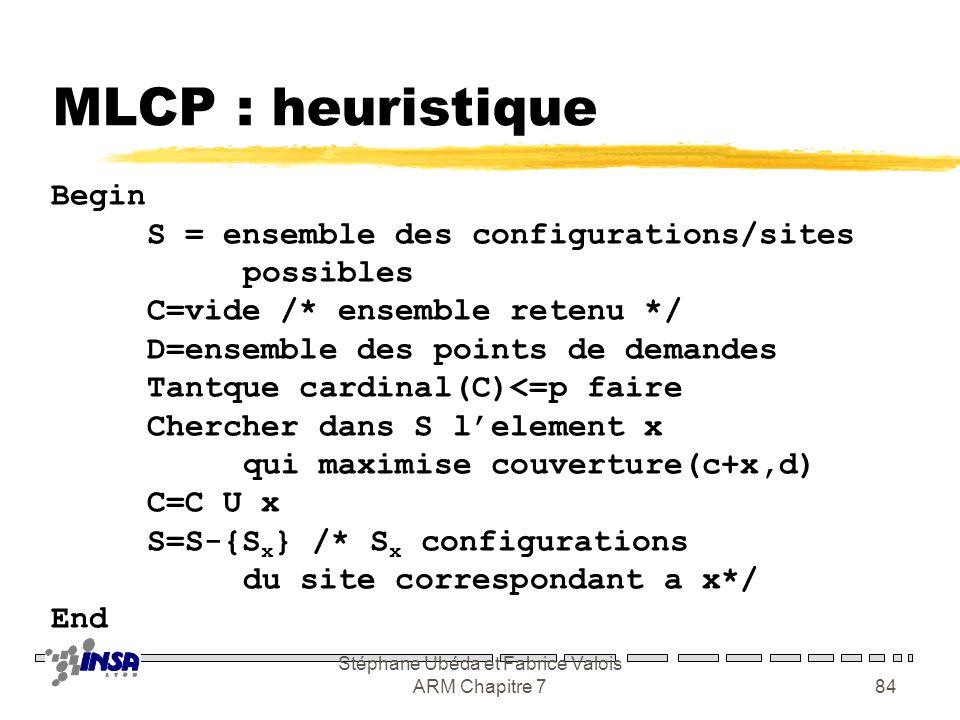 Stéphane Ubéda et Fabrice Valois ARM Chapitre 783 MCLP : PL en 0/1 0 : noeud i non couvert 1 : noeud i couvert Valeur du noeud i 0 : site i non select