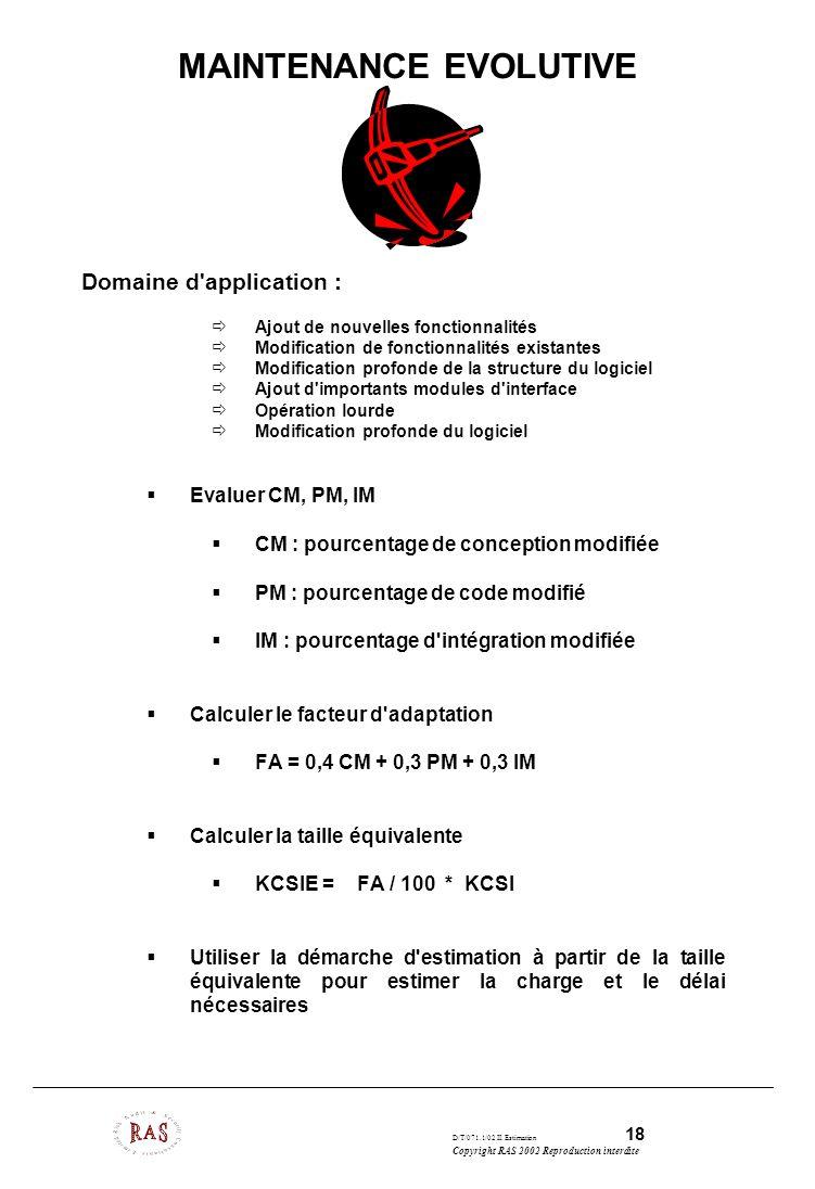 D/T/071.1/02 II. Estimation 18 Copyright RAS 2002 Reproduction interdite MAINTENANCE EVOLUTIVE Domaine d'application : Ajout de nouvelles fonctionnali