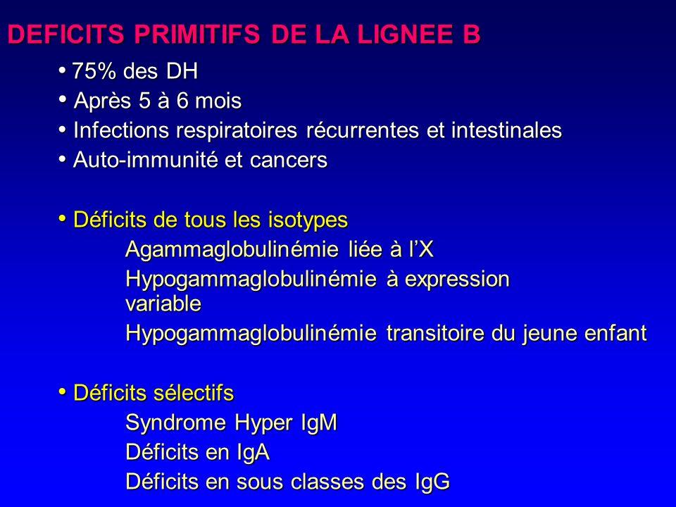 Dysgénésie réticulaire DICS Cellule souche Progéniteur lymphoïde Pré B B mature Plasmocyte B mémoire XLA SHM Hypogamma. Expression variable Déficits s