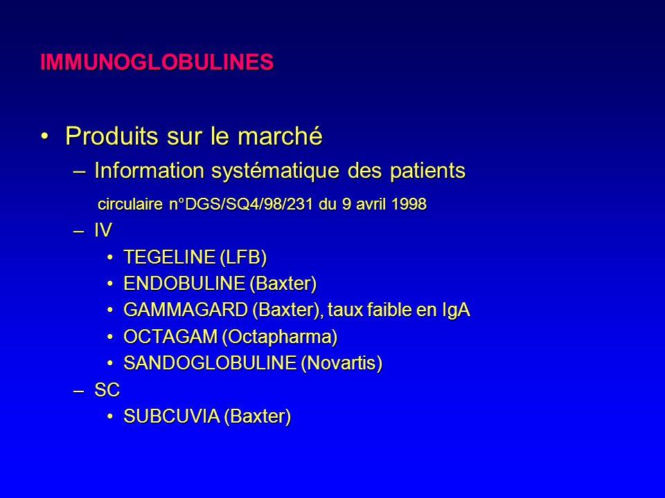 IMMUNOGLOBULINES –Pour greffes de moelle osseuse Utilisation en prévention de complications infectieusesUtilisation en prévention de complications inf