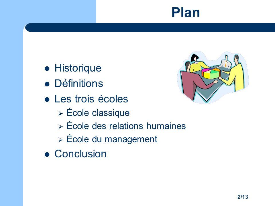 2/13 Plan Historique Définitions Les trois écoles École classique École des relations humaines École du management Conclusion
