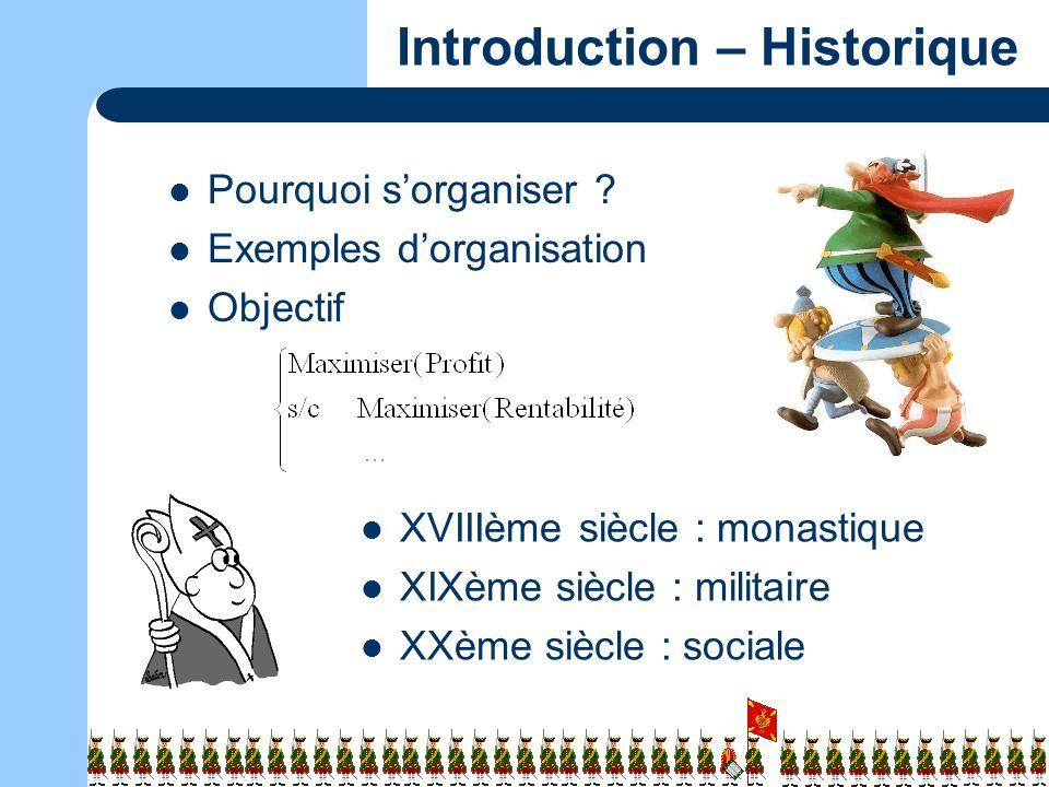 3/13 Introduction – Historique Pourquoi sorganiser ? Exemples dorganisation Objectif XVIIIème siècle : monastique XIXème siècle : militaire XXème sièc