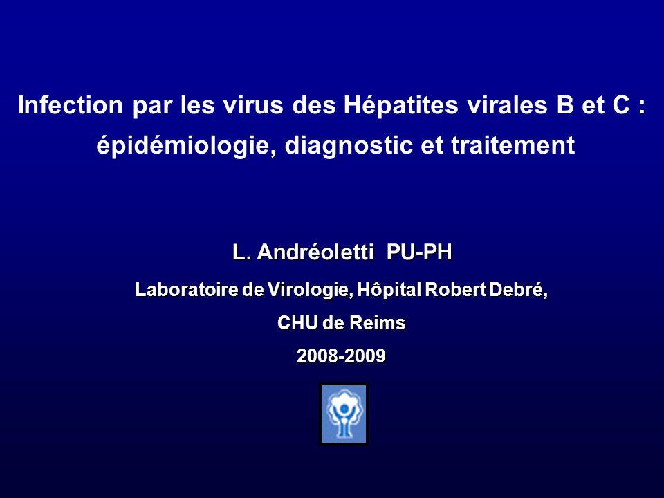 Infection par les virus des Hépatites virales B et C : épidémiologie, diagnostic et traitement L. Andréoletti PU-PH Laboratoire de Virologie, Hôpital