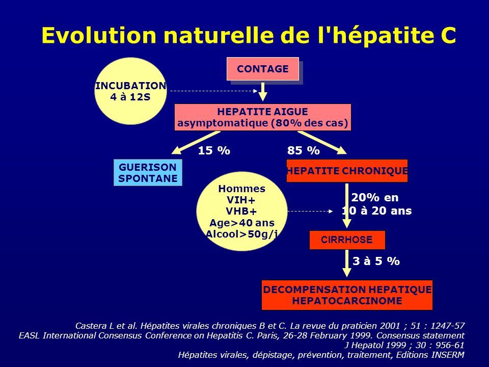 Evolution naturelle de l'hépatite C Castera L et al. Hépatites virales chroniques B et C. La revue du praticien 2001 ; 51 : 1247-57 EASL International