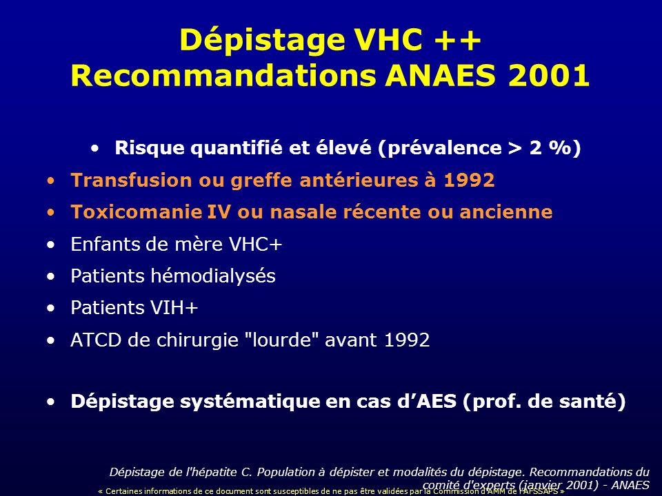 Dépistage VHC ++ Recommandations ANAES 2001 Risque quantifié et élevé (prévalence > 2 %) Transfusion ou greffe antérieures à 1992 Toxicomanie IV ou na