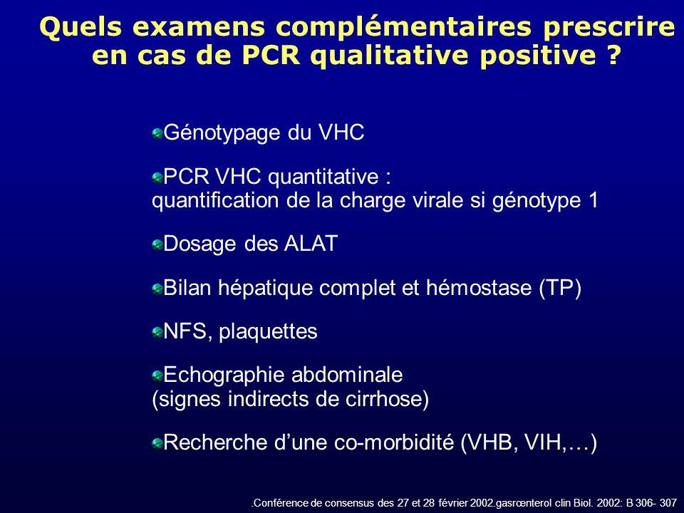 Quels examens complémentaires prescrire en cas de PCR qualitative positive ? Génotypage du VHC PCR VHC quantitative : quantification de la charge vira