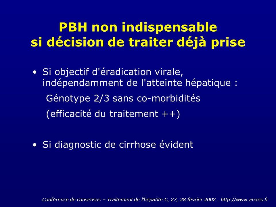 PBH non indispensable si décision de traiter déjà prise Si objectif d'éradication virale, indépendamment de l'atteinte hépatique : Génotype 2/3 sans c