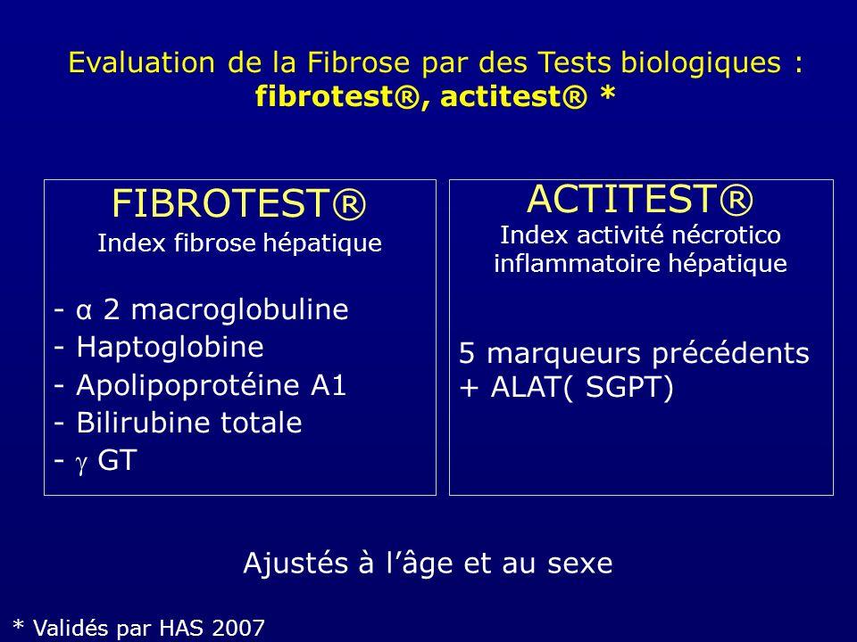 Recommandations HAS 2007 Fibrotest® et FibroScan® Évaluation des lésions hépatiques Diagnostic cirrhose Dans hépatite C chronique - non traitée - sans comorbidité (co-infection, ou consommation excessive d alcool ou autre maladie du foie)