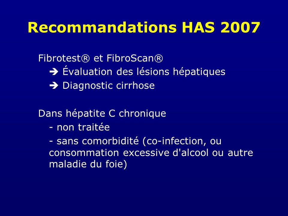 Recommandations HAS 2007 Fibrotest® et FibroScan® Évaluation des lésions hépatiques Diagnostic cirrhose Dans hépatite C chronique - non traitée - sans