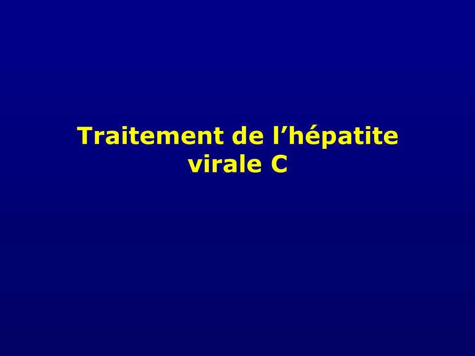Indication de Traitement : Patients Génotype 1 Stade de fibrose Grade dactivité (nécrose) NulleMinimeModéréeSévère Pas de fibroseF0A0A1A2A3 Fibrose portaleF1A0A1A2A3 Quelques septaF2A0A1A2A3 Nombreux septa F3A0A1A2A3 CirrhoseF4A0A1A2A3 Conf consensus traitement de lHépatite C ; Paris 2002 Traitement non recommandé Surveillance renforcée grâce aux marqueurs non invasifs Traitement indiqué