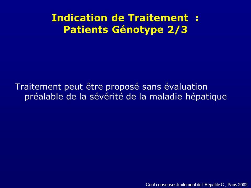 Indication de Traitement : Patients Génotype 2/3 Traitement peut être proposé sans évaluation préalable de la sévérité de la maladie hépatique Conf co