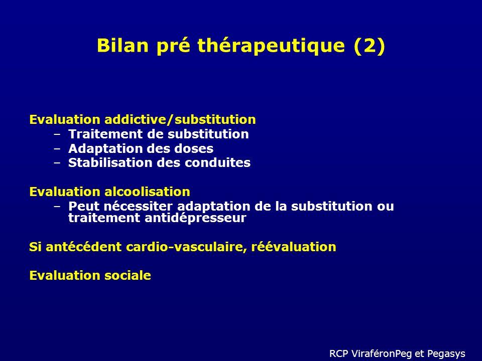 Bilan pré thérapeutique (2) Evaluation addictive/substitution –Traitement de substitution –Adaptation des doses –Stabilisation des conduites Evaluatio