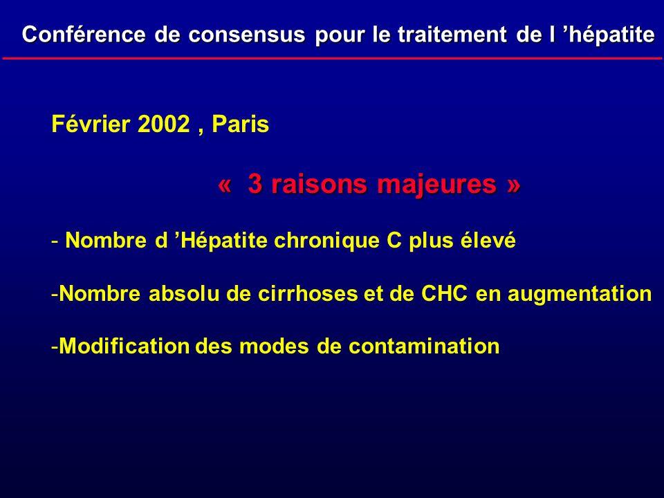 Conférence de consensus pour le traitement de l hépatite C Février 2002, Paris « 3 raisons majeures » - Nombre d Hépatite chronique C plus élevé - Nom