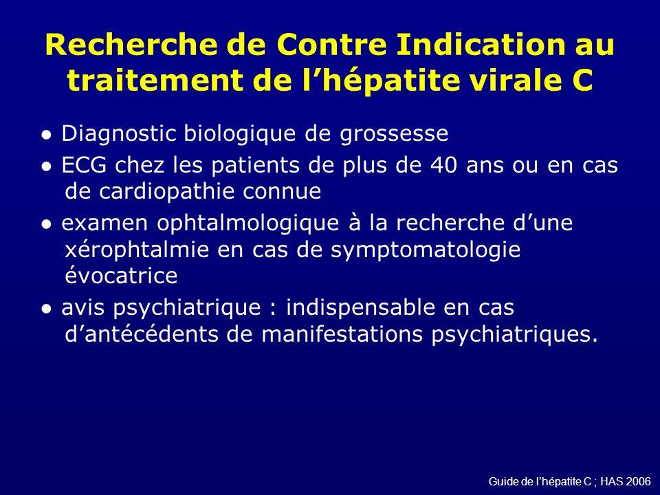 Recherche de Contre Indication au traitement de lhépatite virale C Diagnostic biologique de grossesse ECG chez les patients de plus de 40 ans ou en ca