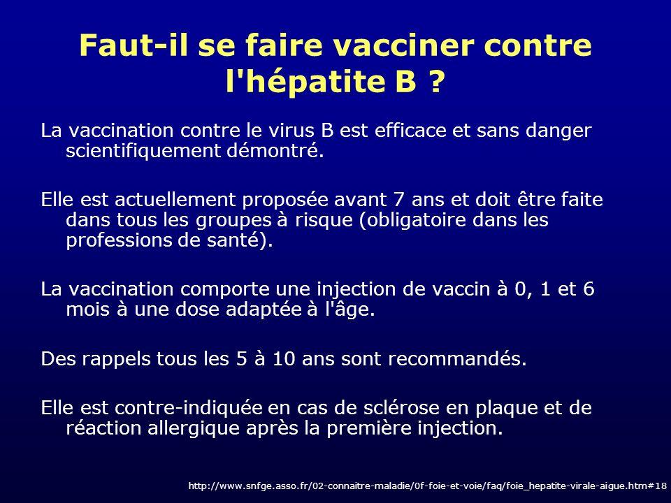Faut-il se faire vacciner contre l'hépatite B ? La vaccination contre le virus B est efficace et sans danger scientifiquement démontré. Elle est actue