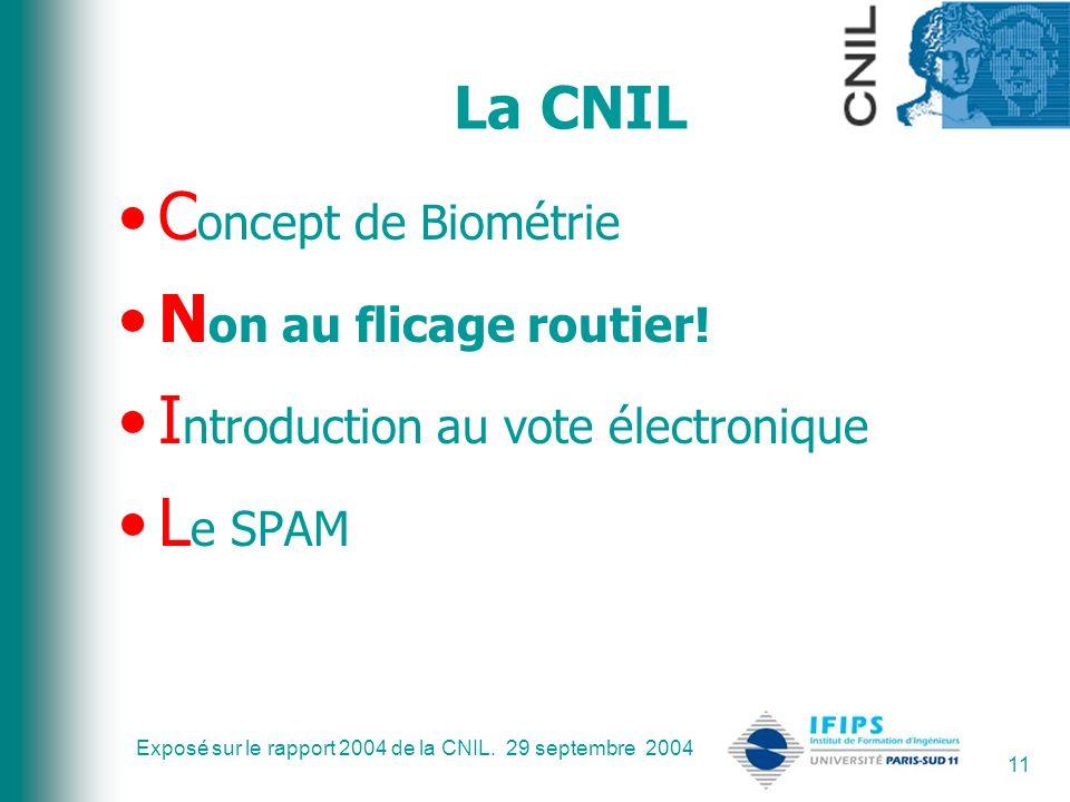 Exposé sur le rapport 2004 de la CNIL. 29 septembre 2004 11 La CNIL C oncept de Biométrie N on au flicage routier! I ntroduction au vote électronique