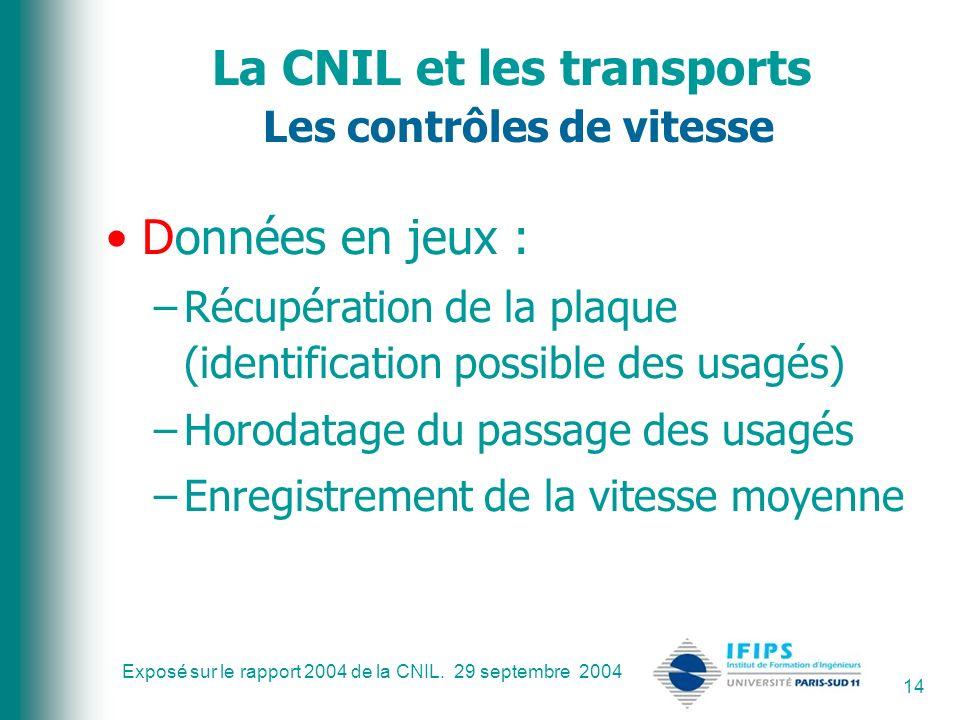 Exposé sur le rapport 2004 de la CNIL. 29 septembre 2004 14 La CNIL et les transports Les contrôles de vitesse Données en jeux : –Récupération de la p