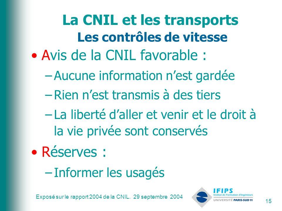 Exposé sur le rapport 2004 de la CNIL. 29 septembre 2004 15 La CNIL et les transports Les contrôles de vitesse Avis de la CNIL favorable : –Aucune inf