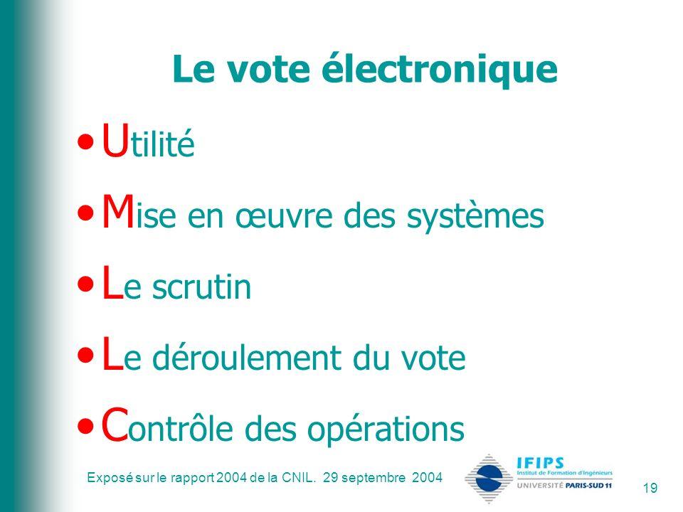 Exposé sur le rapport 2004 de la CNIL. 29 septembre 2004 19 Le vote électronique U tilité M ise en œuvre des systèmes L e scrutin L e déroulement du v
