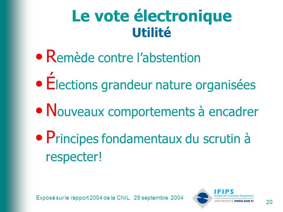 Exposé sur le rapport 2004 de la CNIL. 29 septembre 2004 20 Le vote électronique Utilité R emède contre labstention É lections grandeur nature organis