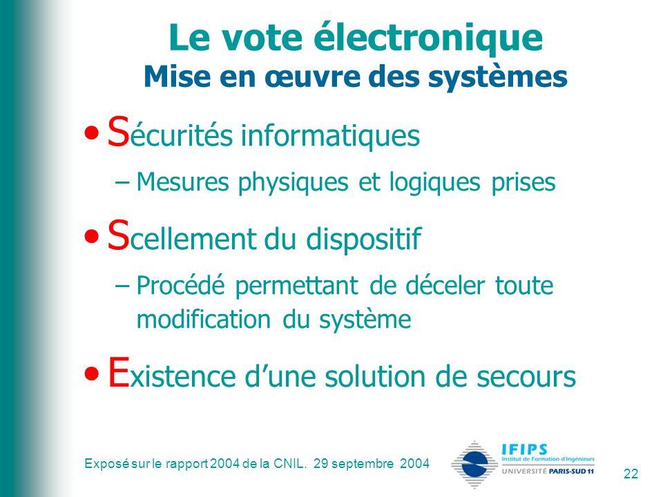 Exposé sur le rapport 2004 de la CNIL. 29 septembre 2004 22 Le vote électronique Mise en œuvre des systèmes S écurités informatiques –Mesures physique