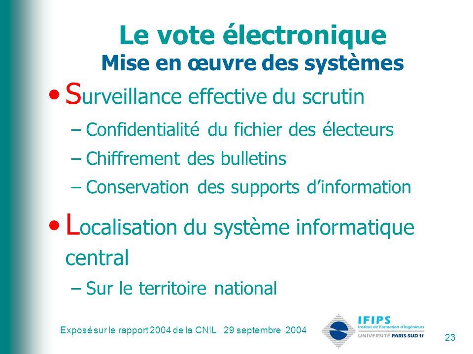 Exposé sur le rapport 2004 de la CNIL. 29 septembre 2004 23 Le vote électronique Mise en œuvre des systèmes S urveillance effective du scrutin –Confid