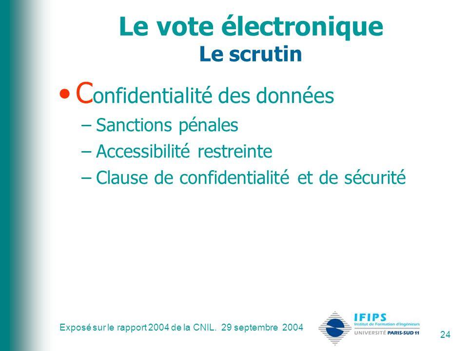Exposé sur le rapport 2004 de la CNIL. 29 septembre 2004 24 Le vote électronique Le scrutin C onfidentialité des données –Sanctions pénales –Accessibi