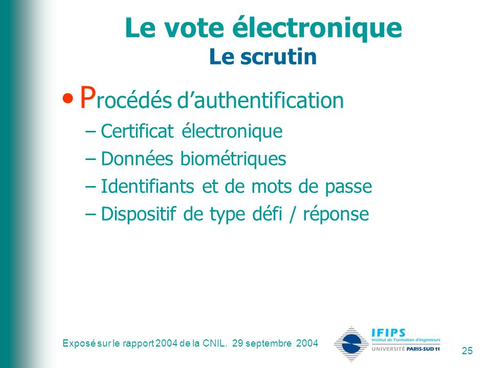 Exposé sur le rapport 2004 de la CNIL. 29 septembre 2004 25 Le vote électronique Le scrutin P rocédés dauthentification –Certificat électronique –Donn