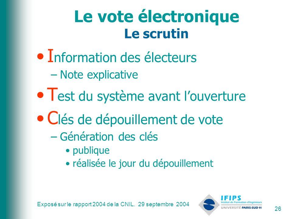 Exposé sur le rapport 2004 de la CNIL. 29 septembre 2004 26 Le vote électronique Le scrutin I nformation des électeurs –Note explicative T est du syst