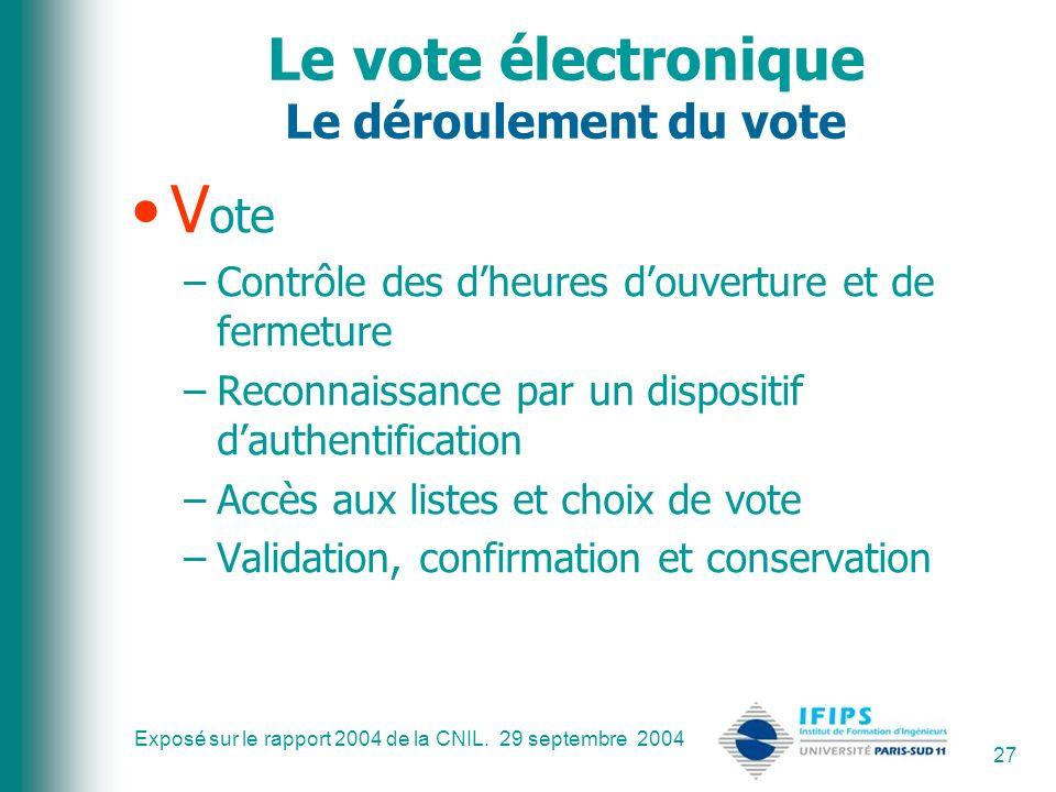 Exposé sur le rapport 2004 de la CNIL. 29 septembre 2004 27 Le vote électronique Le déroulement du vote V ote –Contrôle des dheures douverture et de f