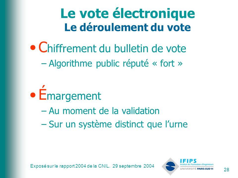 Exposé sur le rapport 2004 de la CNIL. 29 septembre 2004 28 Le vote électronique Le déroulement du vote C hiffrement du bulletin de vote –Algorithme p