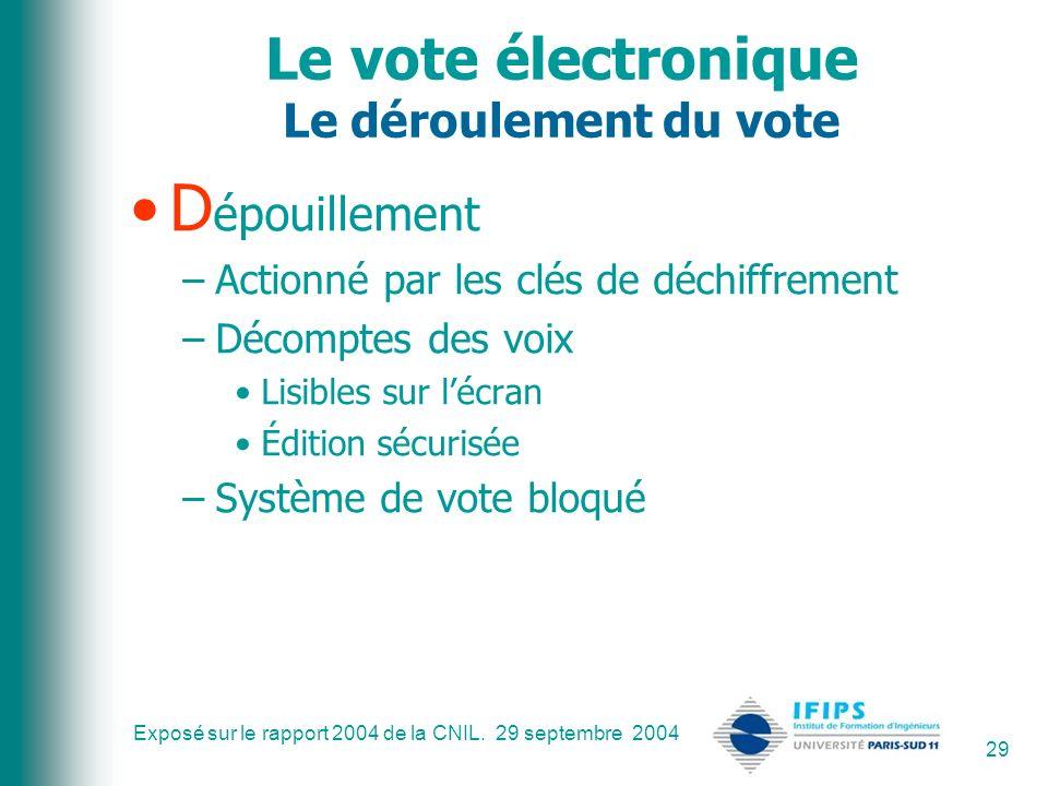 Exposé sur le rapport 2004 de la CNIL. 29 septembre 2004 29 Le vote électronique Le déroulement du vote D épouillement –Actionné par les clés de déchi