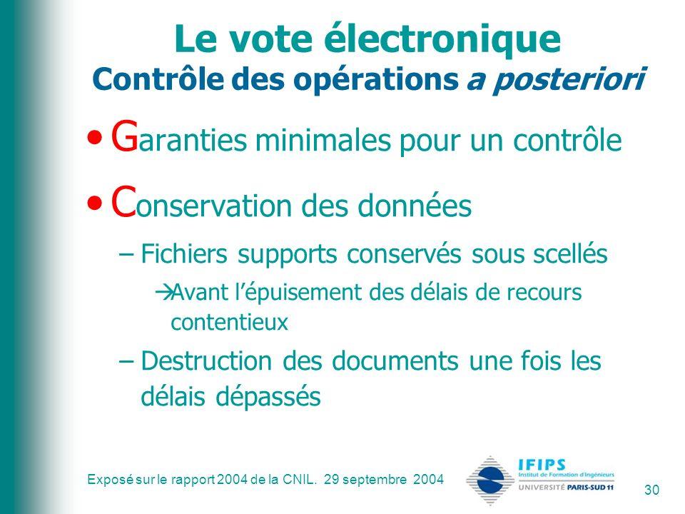 Exposé sur le rapport 2004 de la CNIL. 29 septembre 2004 30 Le vote électronique Contrôle des opérations a posteriori G aranties minimales pour un con