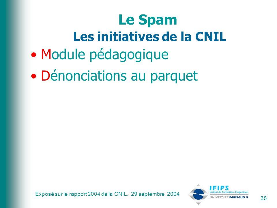 Exposé sur le rapport 2004 de la CNIL. 29 septembre 2004 35 Le Spam Les initiatives de la CNIL Module pédagogique Dénonciations au parquet
