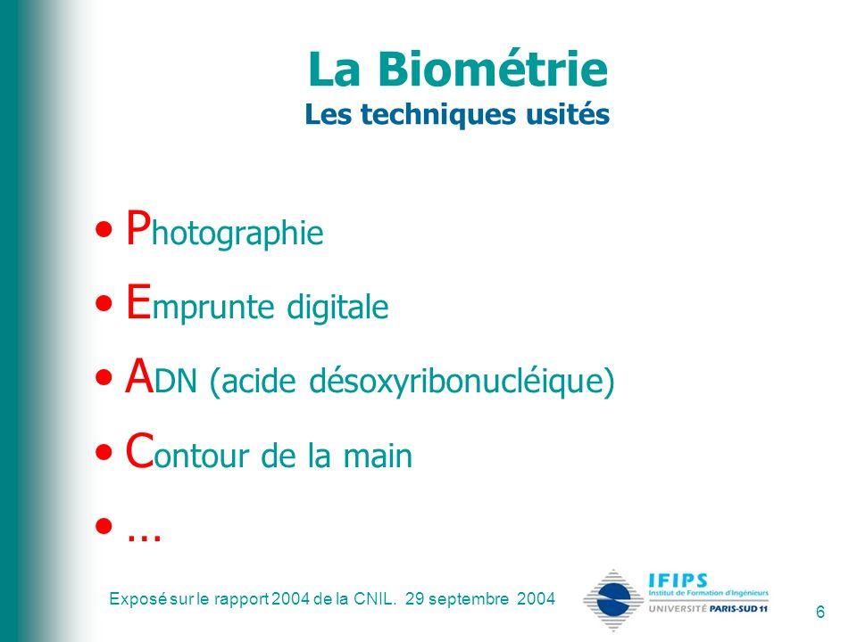 Exposé sur le rapport 2004 de la CNIL. 29 septembre 2004 6 La Biométrie Les techniques usités P hotographie E mprunte digitale A DN (acide désoxyribon