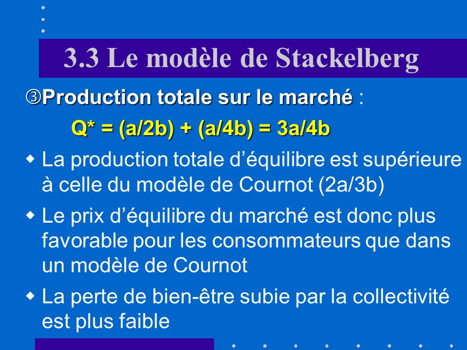 3.3 Le modèle de Stackelberg Production du leader: Production de lentreprise suiveuse: