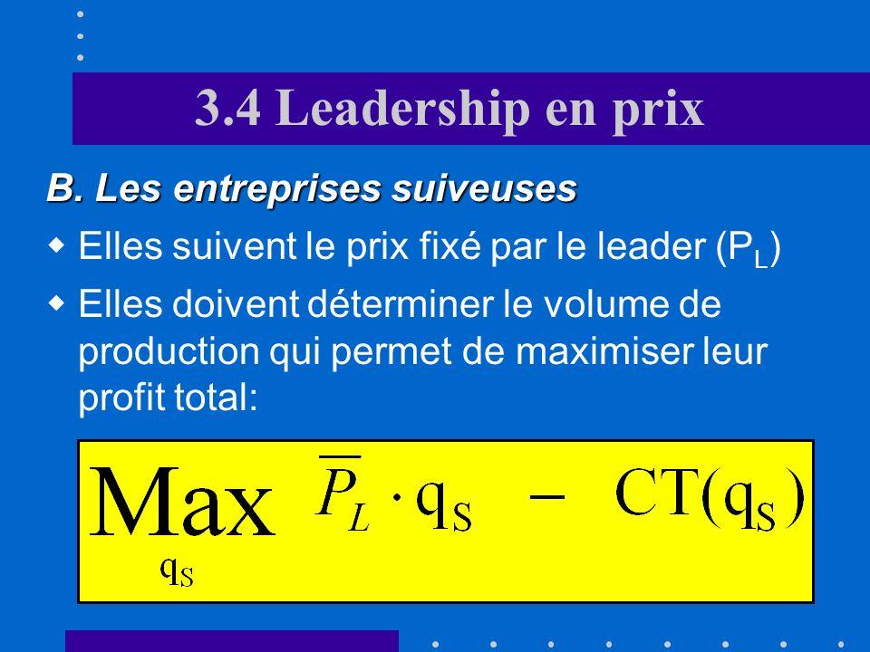 3.4 Leadership en prix A. Introduction Stratégie séquentielle où lentreprise qui détient le leadership fixe son prix en premier Ce leadership peut rep