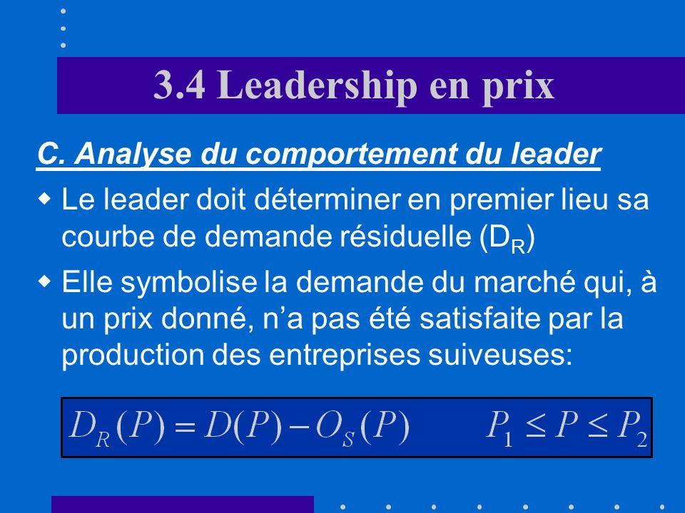 3.4 Leadership en prix Les entreprises suiveuses maximisent leur profit en égalisant leur coût marginal au prix fixé par le leader La fonction doffre