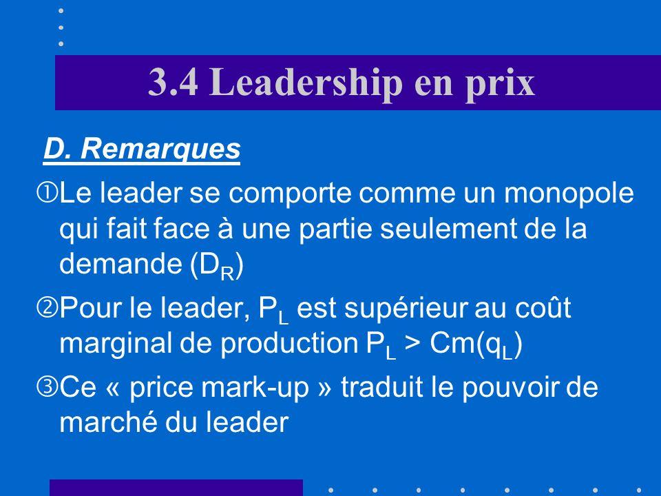 3.4 Leadership en prix D OSOSOSOS P2P2P2P2 P1P1P1P1 Demande résiduelle Rm r Cm L qLqLqLqL PLPLPLPL qSqSqSqS QTQTQTQT