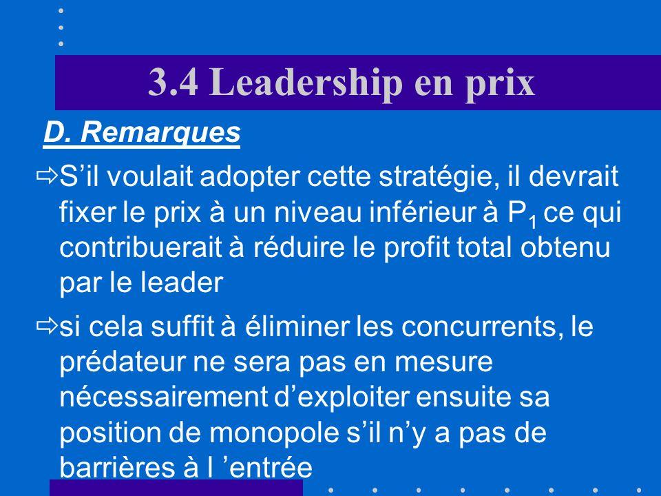 3.4 Leadership en prix D. Remarques Pour la frange concurrentielle du marché, Cm(q S ) = P L Pourquoi le leader ne joue-t-il pas les prédateurs afin d