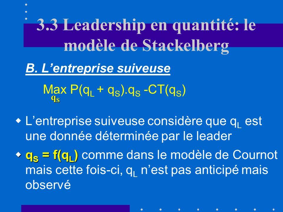 3.3 La stratégie du leadership A. Introduction Stratégie séquentielle où une entreprise (le leader « L ») choisit avant lautre soit son volume de prod