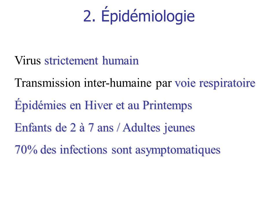 2. Épidémiologie strictement humain Virus strictement humain voie respiratoire Transmission inter-humaine par voie respiratoire Épidémies en Hiver et