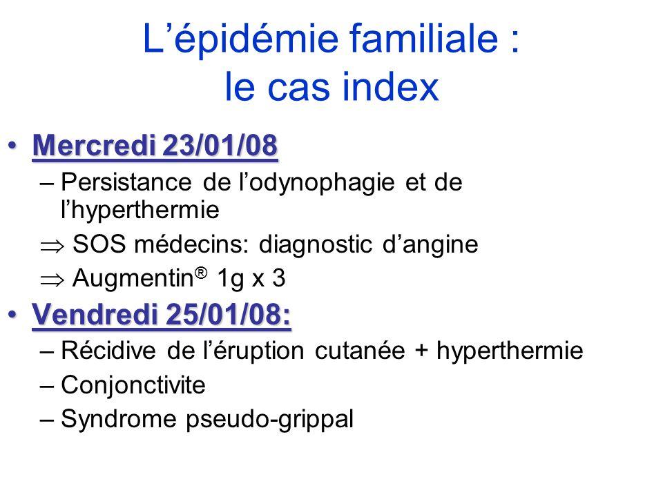 Mercredi 23/01/08Mercredi 23/01/08 –Persistance de lodynophagie et de lhyperthermie SOS médecins: diagnostic dangine Augmentin ® 1g x 3 Vendredi 25/01