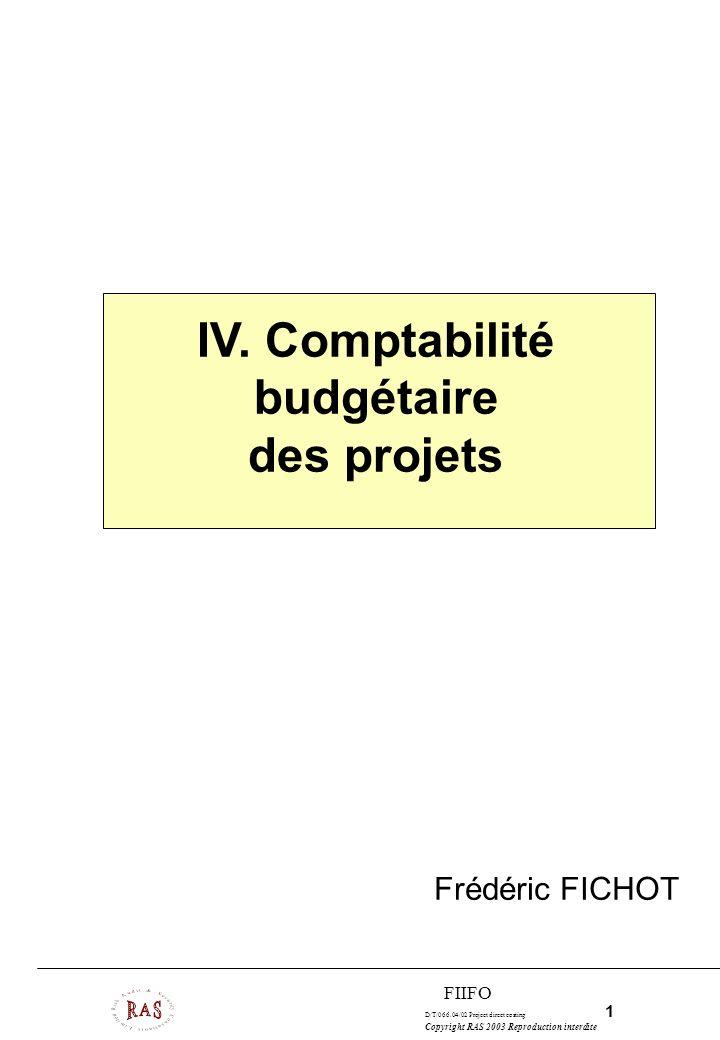 D/T/066.04/02 Project direct costing 1 Copyright RAS 2003 Reproduction interdite FIIFO IV. Comptabilité budgétaire des projets Frédéric FICHOT