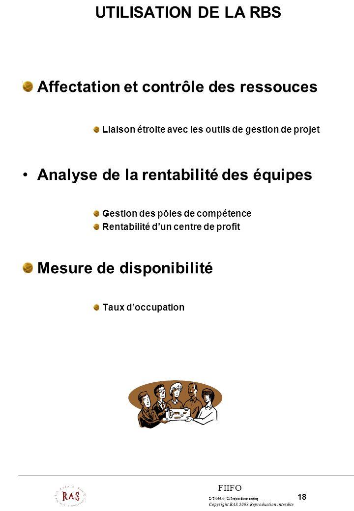 D/T/066.04/02 Project direct costing 18 Copyright RAS 2003 Reproduction interdite FIIFO UTILISATION DE LA RBS Affectation et contrôle des ressouces Li