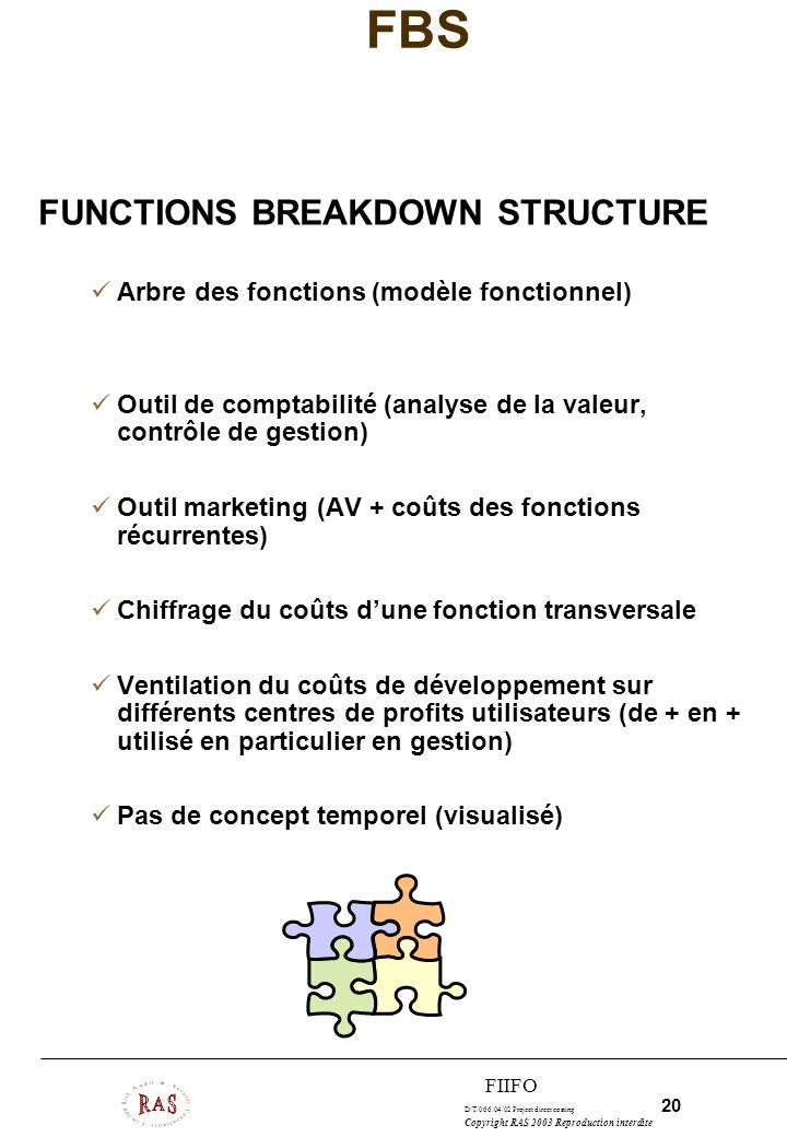 D/T/066.04/02 Project direct costing 20 Copyright RAS 2003 Reproduction interdite FIIFO FBS FUNCTIONS BREAKDOWN STRUCTURE Arbre des fonctions (modèle